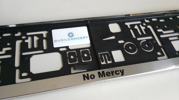 Edelstahl Kennzeichenhalter mit No Mercy Beschriftung